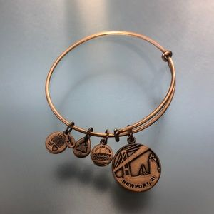 Alex and Ani gold Newport RI charm bracelet
